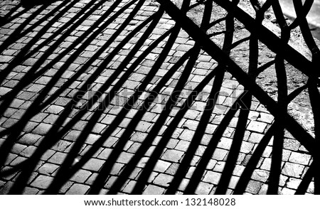 Abstract photo, abstract lines background, lines shadows on a street background, lines shadows fragment close up, black and white lines shadows image