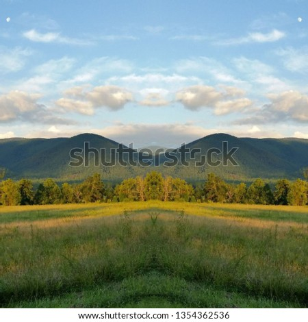 Abstract Photo Collage of Clouds and Sky and Mountain Pasture 46 #1354362536