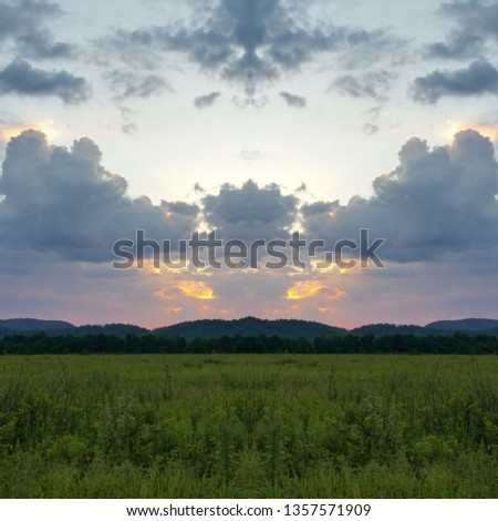 Abstract Photo Collage of Colorful Mountain Pasture Sunset 4 #1357571909