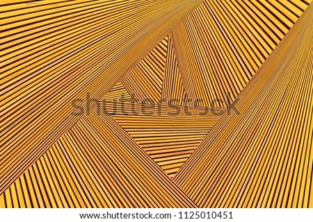 Abstract photo montage of yellow orange timber. Converging lines of planks.  #1125010451