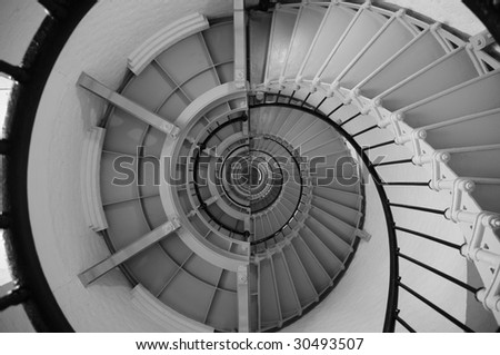 Abstract photo of a spiral staircase inside a lighthouse