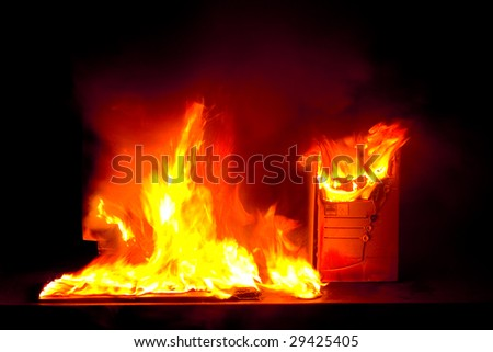 Abstract photo of Burning computer on the black background
