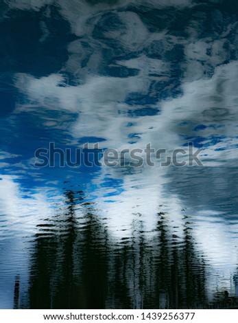 Abstract photo of trees, clouds and blue sky created from reflection in puget sound waters #1439256377