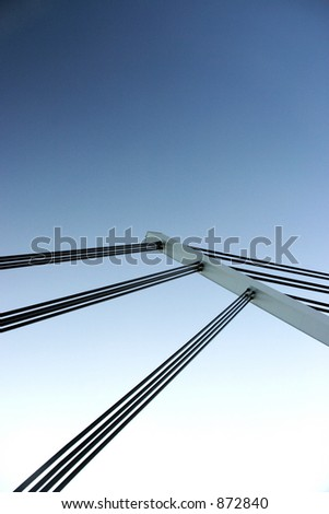 Abstract photo showing bridge suspension lines.