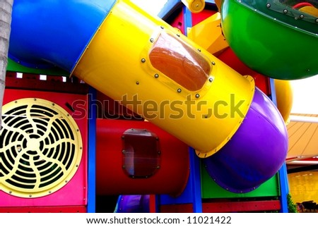 Abstract photograph featuring childrens play equipment at a fast food restaurant (Adelaide, Australia).