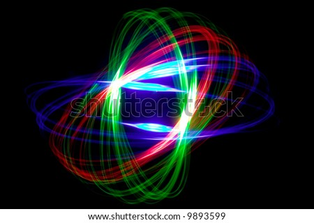 Abstract physiogram pattern made with three coloured lights.