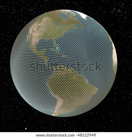 Abstract picture. Globe made of small spheres. On star background. Concept render