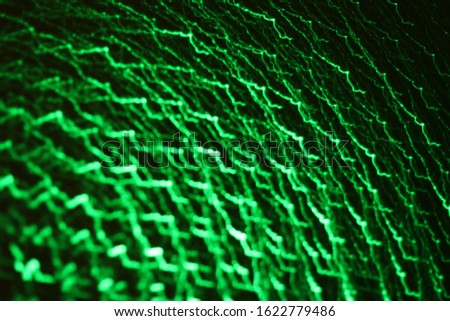 Abstract picture of green laser lights.
