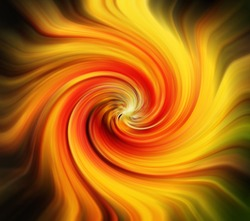 Abstract picture of red and yellow zoomed and twirled streaks
