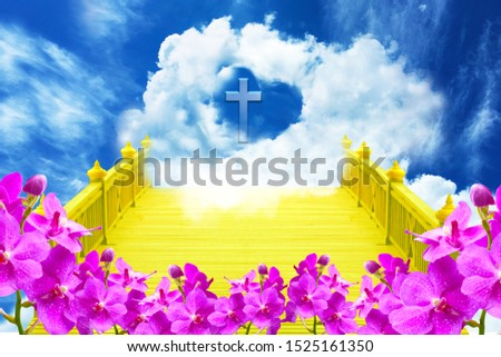 Abstract picture, Pink orchids, Yellow bridge and blue sky with the cross of Jesus Christ is so beautiful.