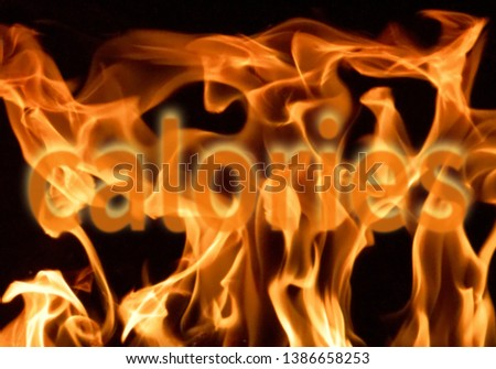 Abstract picture showing burning calories or fat in flames. Healthy lifestyle motivator.