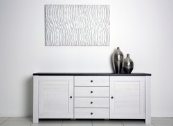 Abstract picture with vases and commode on a white wall background