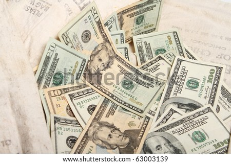 Abstract pile of United States treasury notes