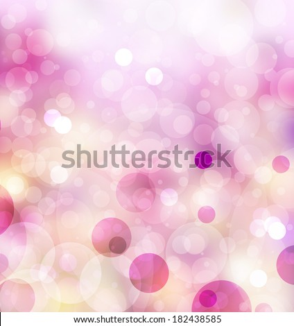 abstract pink background glitter lights, round shapes geometric circle background, sparkling fantasy dream background bright white festive bubble Christmas background blur bokeh lights, shine texture