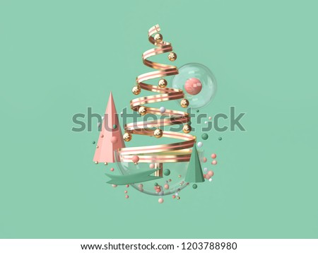 abstract pink coil ribbon christmas tree many object decoration floating christmas concept 3d rendering