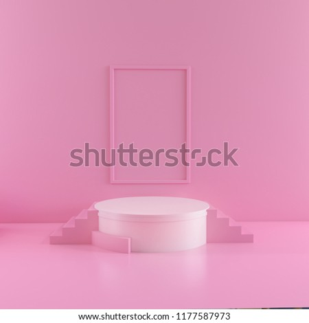 abstract pink color geometric shape background, modern minimalist mockup for podium display or showcase, 3d rendering