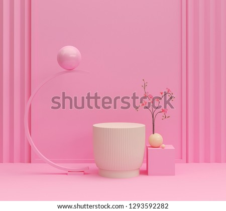 abstract pink color geometric shape background, modern minimalist mockup for podium display or showcase, 3d rendering.