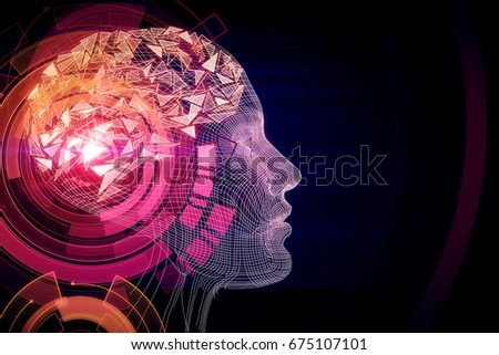 Shutterstock Abstract pink digital human profile on dark background. Technology concept. 3D Rendering