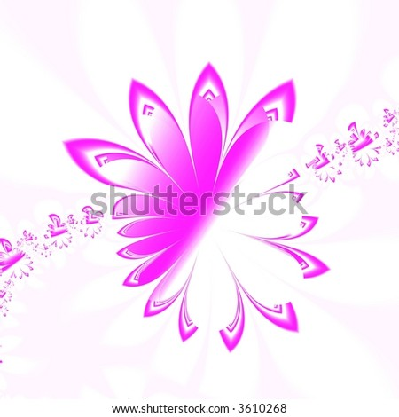 Abstract pink flowers isolated on white background
