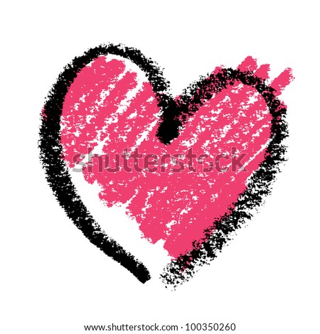 Abstract pink heart, painted with lipstick, raster version.