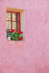 Abstract Pink House Facade In Sighisoara Romania