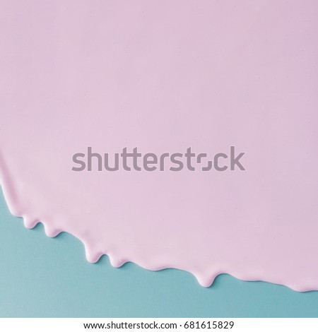Abstract pink oil paint texture on blue canvas. Minimalistic background with copy space. #681615829