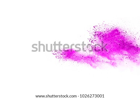 Abstract pink powder explosion. Closeup of pink dust particle splash isolated on white background.