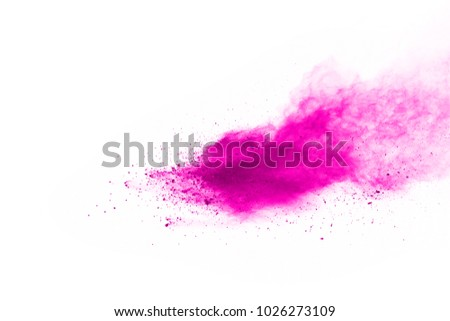 Abstract pink powder explosion. Closeup of pink dust particle splash isolated on white background.  - Shutterstock ID 1026273109