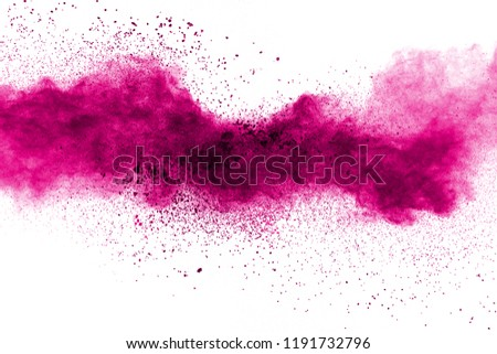 Abstract pink powder explosion on white background. Freeze motion of pink dust splattered. #1191732796