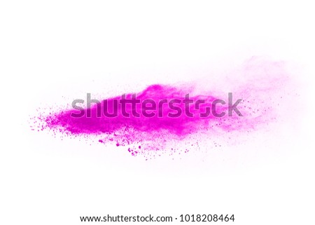 abstract pink powder splatted background,Freeze motion of color powder exploding/throwing color powder,color glitter texture on white background - Shutterstock ID 1018208464