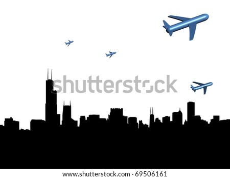 abstract planes departing Chicago illustration