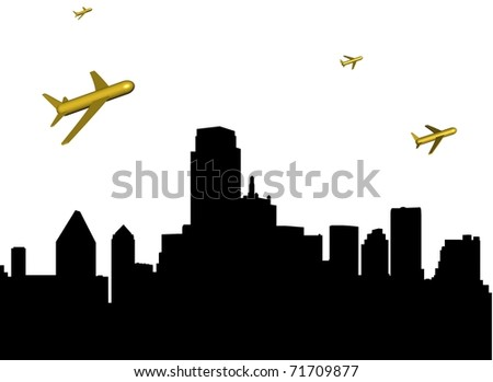 abstract planes departing Dallas illustration