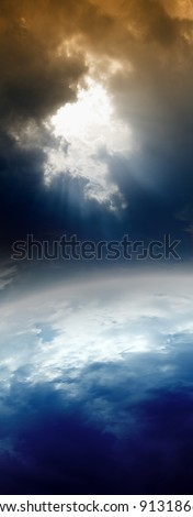 Abstract planet in space, bright light from above