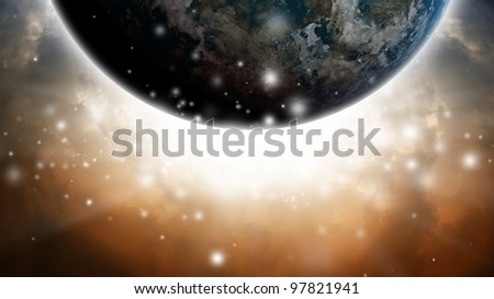 Abstract planet like earth in dark sky with bright light