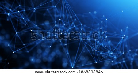 Photo of  Abstract plexus blue geometry background. Digital technology network connection concept. 3D rendered illustration.
