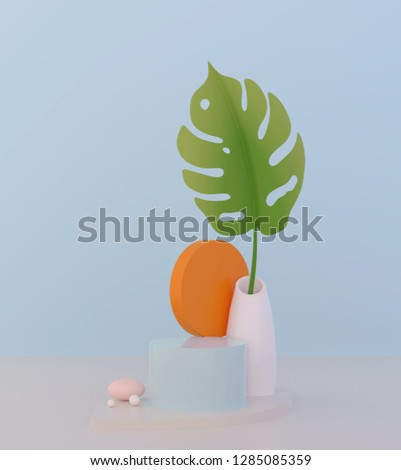 abstract podium and empty showcase,shop display or Blank product stand with primitive shape,minimal background. pastel color 3d rendering
