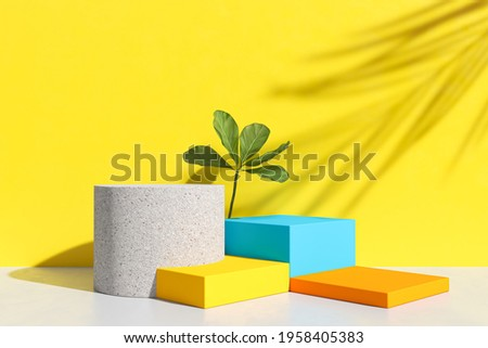 abstract podium and empty showcase,shop display or Blank product stand with primitive shape,minimal background. pastel color 3d rendering. Сток-фото ©