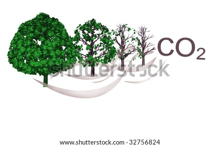 Abstract pollution CO2 illustration against white background