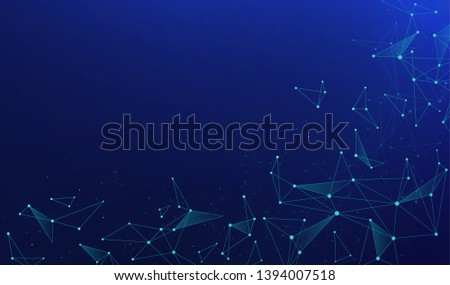 Abstract polygonal connections with connecting dots and lines on a blue background. Digital technology concept.