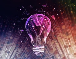 Abstract polygonal light bulb on colorful background. Innovative ideas concept. 3D Rendering