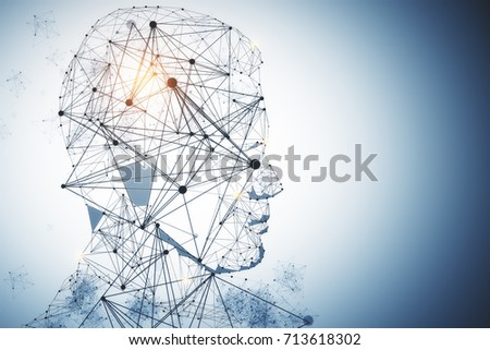 Abstract polygonal male head portrairt on blue background. Artificial intelligence concept. 3D Rendering