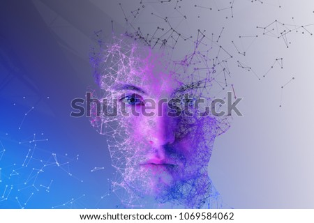 Abstract polygonal portrait of handsome european man. Cyberspace and future concept. Double exposure