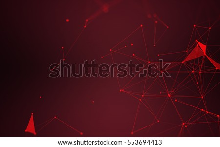 Abstract Polygonal Space Dark Background with Red Connecting Dots and Lines | Futuristic Design