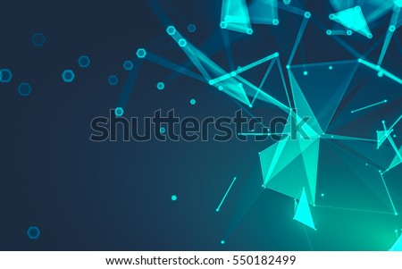 Shutterstock Abstract polygonal space low poly dark background with connecting dots and lines. Connection structure. 3d rendering