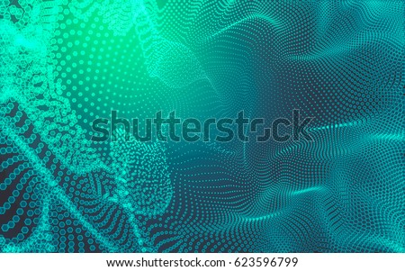 Abstract polygonal space low poly dark background with connecting dots and lines. Connection structure. 3d rendering #623596799
