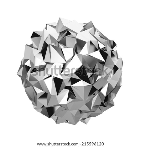 Abstract polygonal sphere. 3d illustration isolated on white background