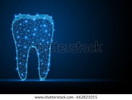 Abstract polygonal tooth silhouette. Business wireframe. Thin line concept of stomatology dental concept. Blue structure style illustration consisting of point, mesh and lines.