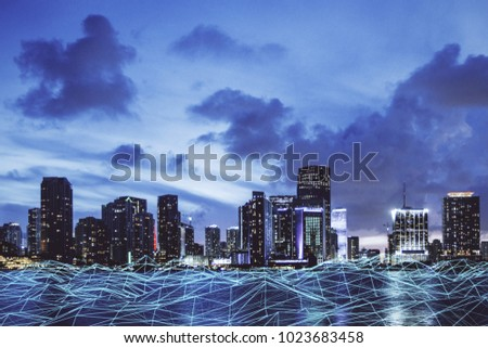 Abstract polygonal waterfront city background. Urban innovation concept