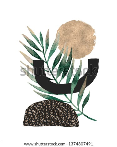 Abstract poster background: minimal shapes, glossy golden tropical leaf. Art print with doodles, marble, glitter texture. Creative digital illustration for minimalism, hipster, scandinavian design