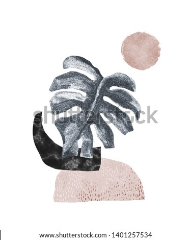 Abstract poster background: minimal shapes, glossy tropical monstera leaf. Art print with marble, shiny glitter texture. Creative digital illustration for minimalism, hipster, scandinavian design
